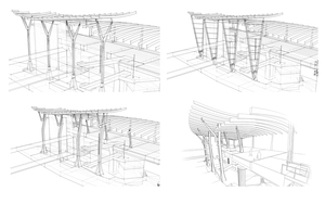 YVR Airport Station - Canopy column studies.  Guy Taylor and Sean Byrne
