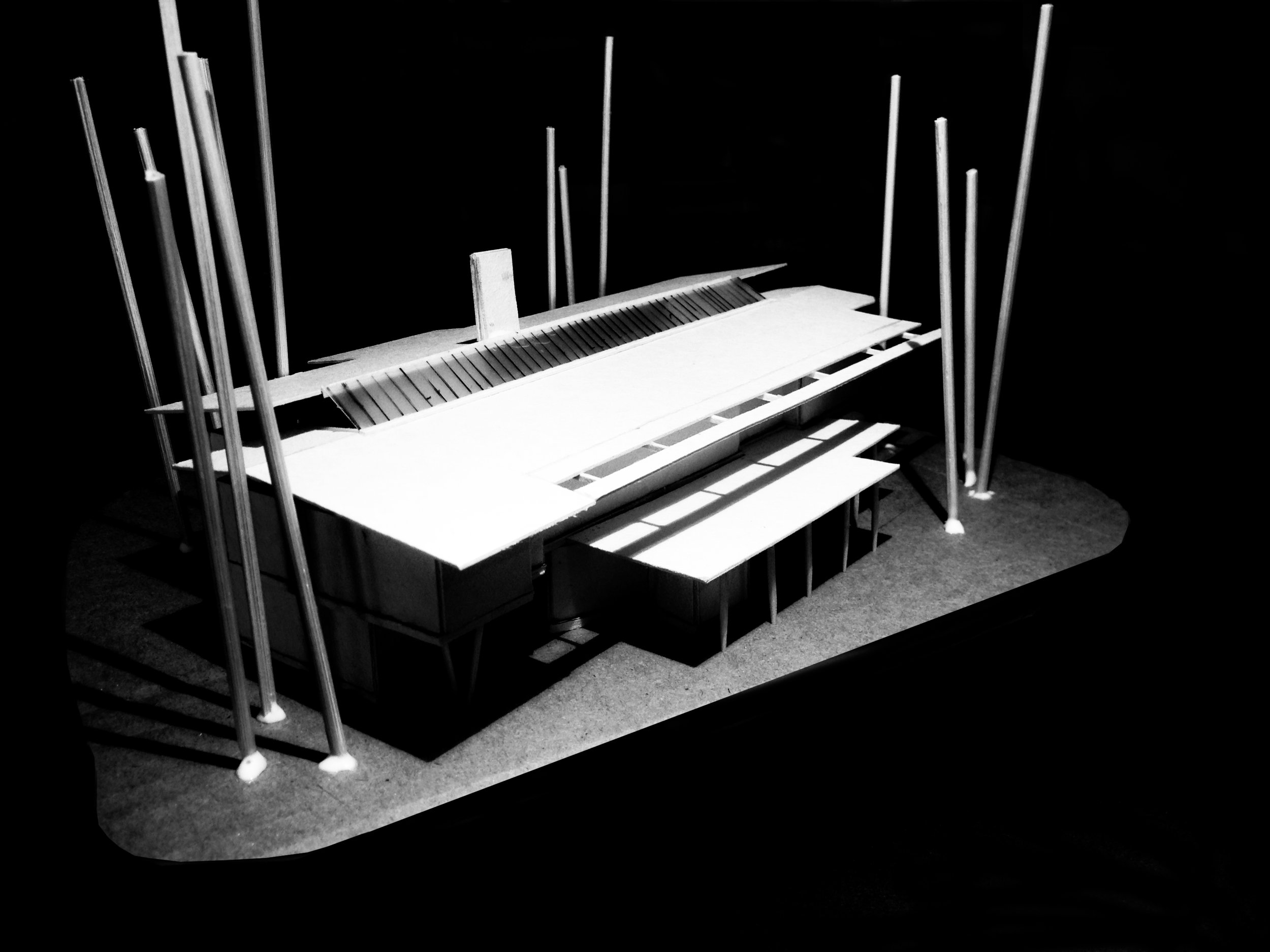 2 Storey Building design model - Front Looking From South to North