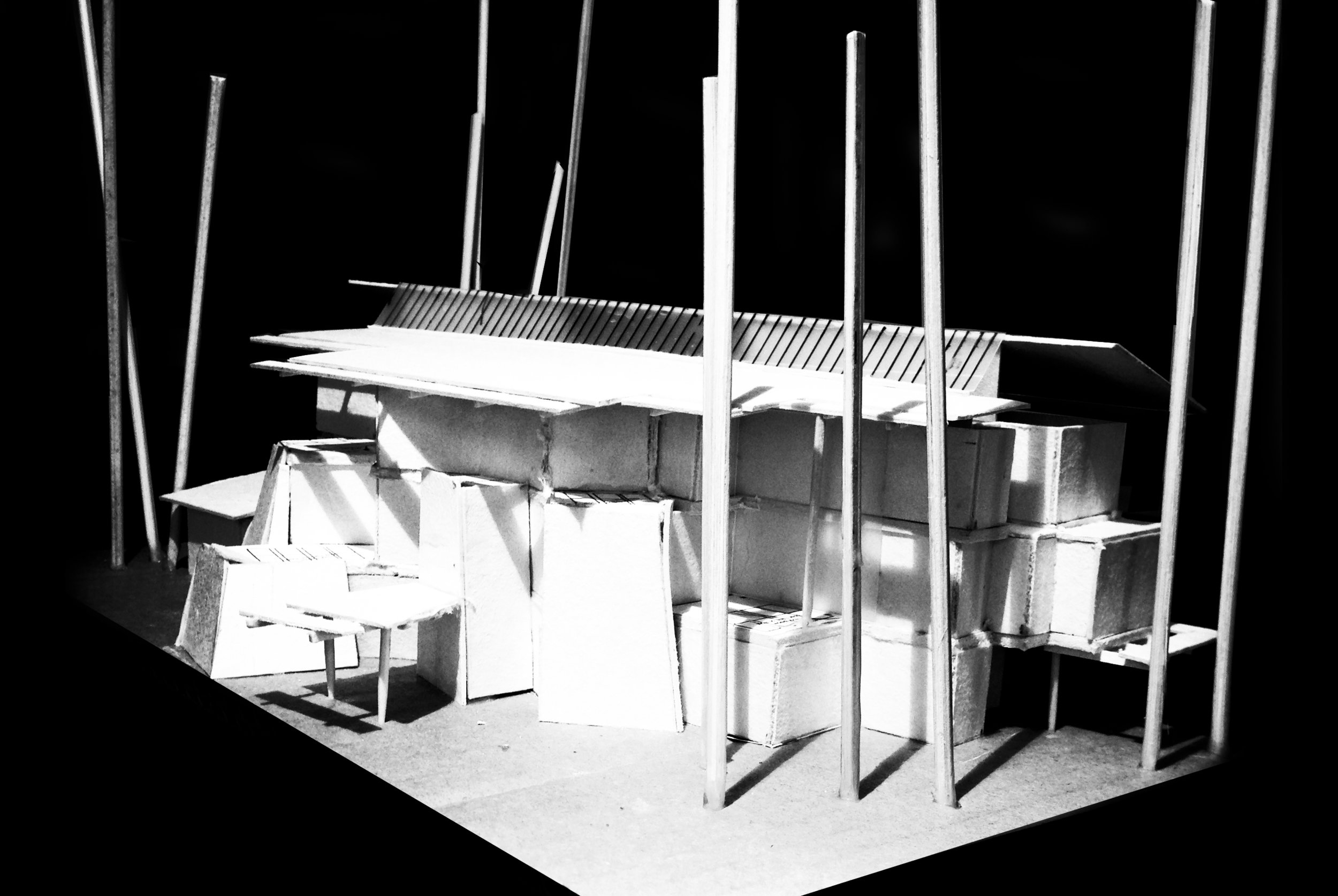 3 Storey Building design model - Front Looking From North to South: low view