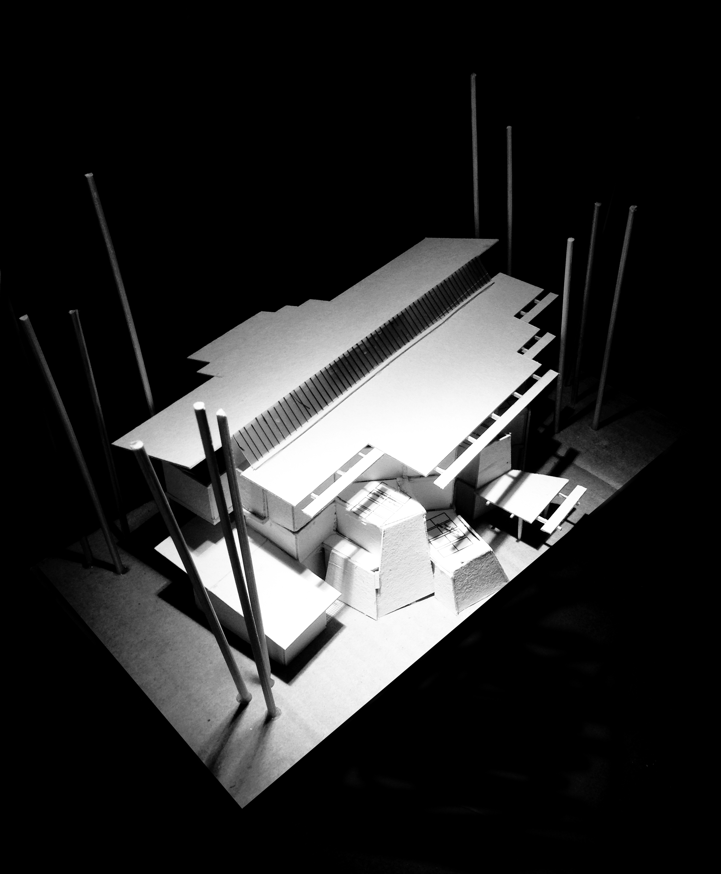 3 Storey Building design model - Front Looking From South to North