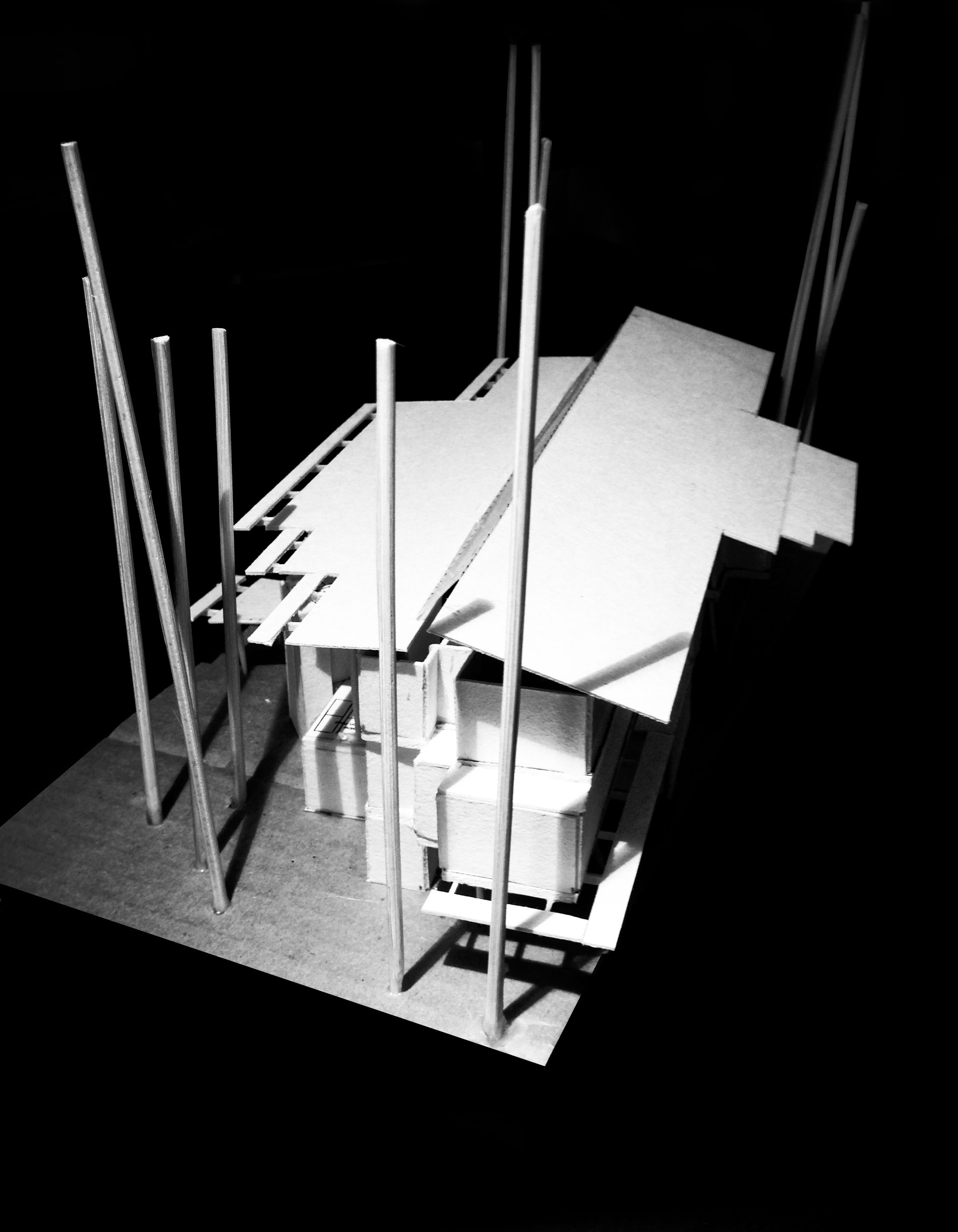 3 Storey Building design model - Rear North End Looking South