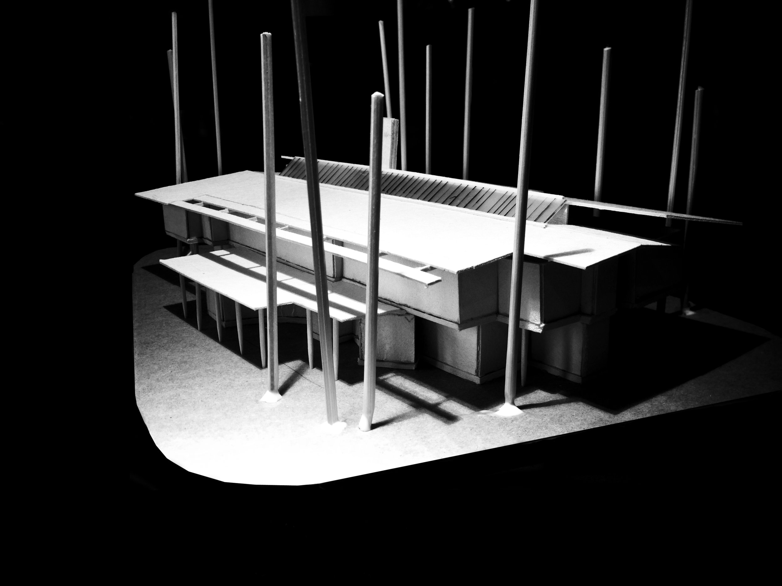 2 Storey Building design model - Front Looking from North to South: low view