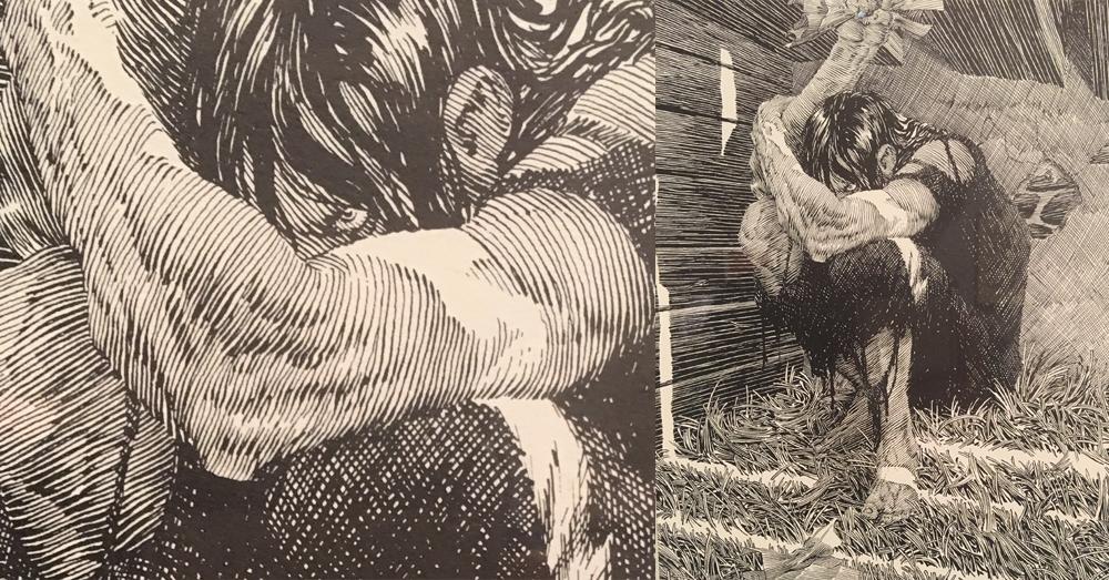 Bernie Wrightson Inked drawing