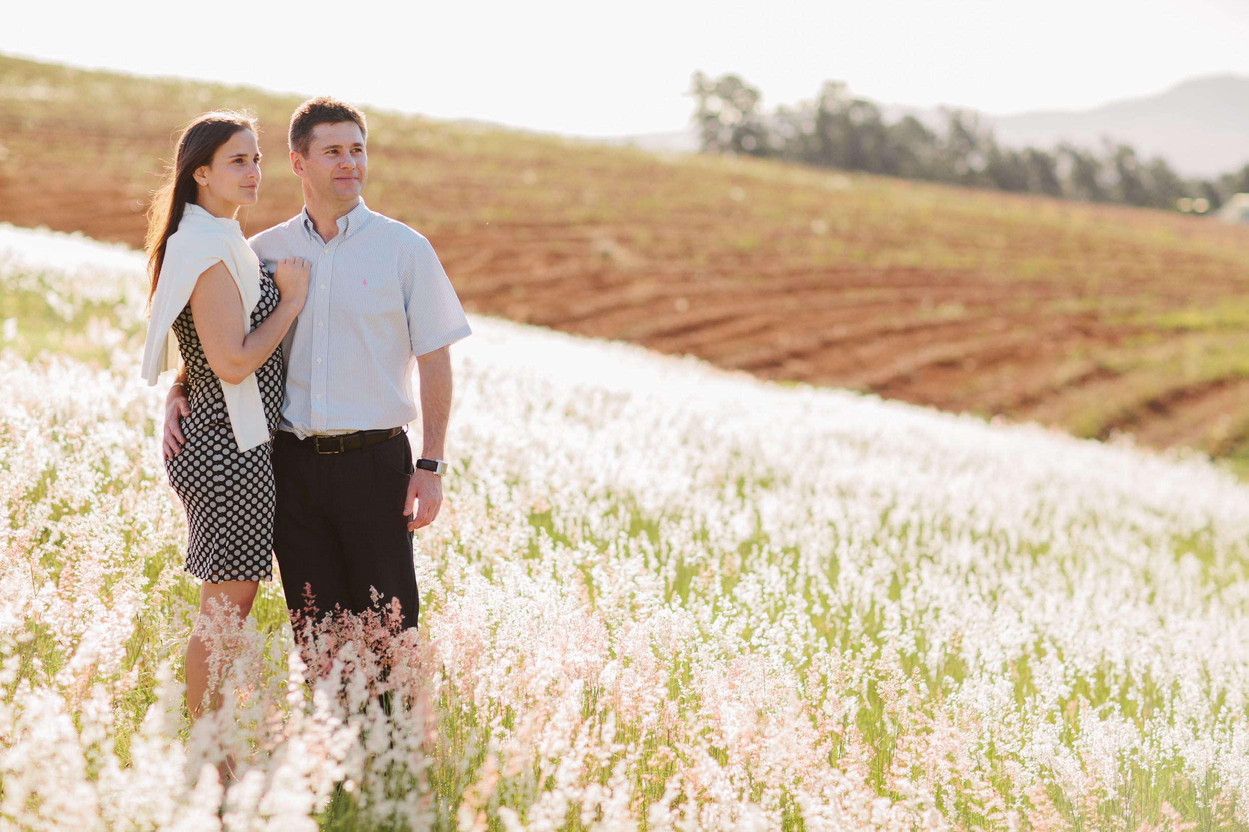 Engagement shoot on foot of Hidden Valley wine farm's hills