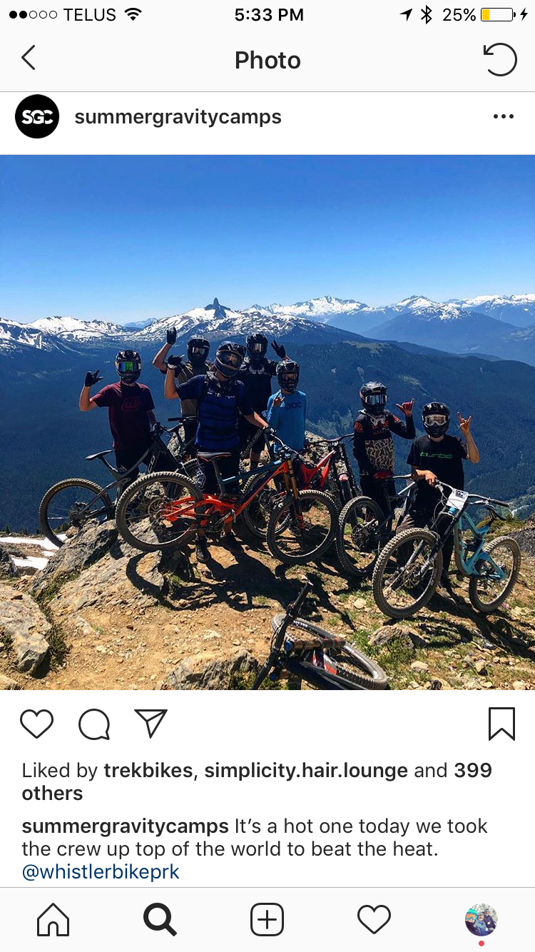 Whistlers Top of the World Trail with Summer Gravity Camps. Give them a follow on Instagram.