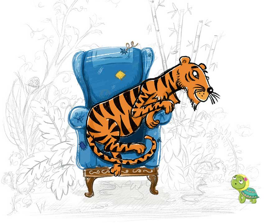 Early designs for Tiger and background