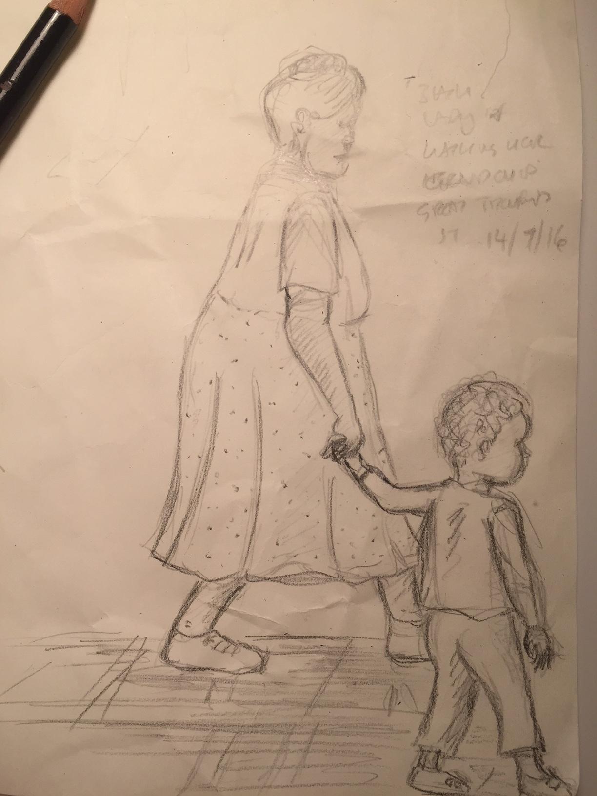 Grandma walking her grandson to school