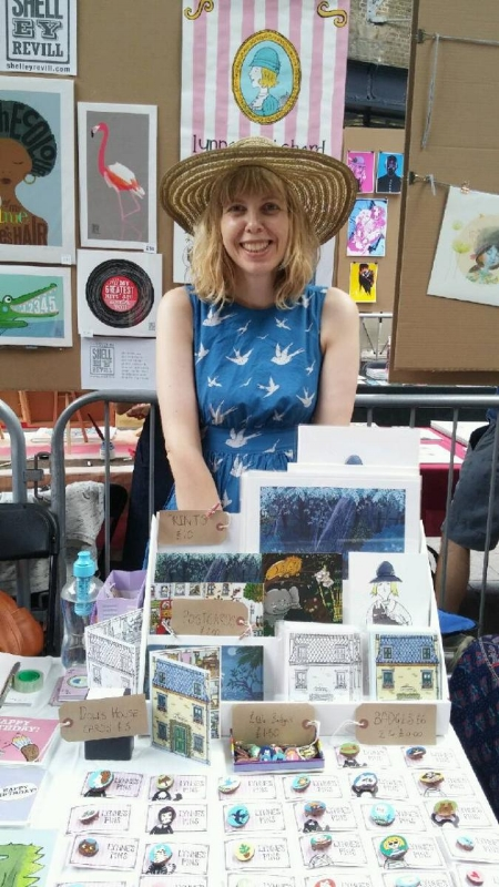 Lynne's Pins for sale on my stall at the illustration fair, Kings Cross, London.