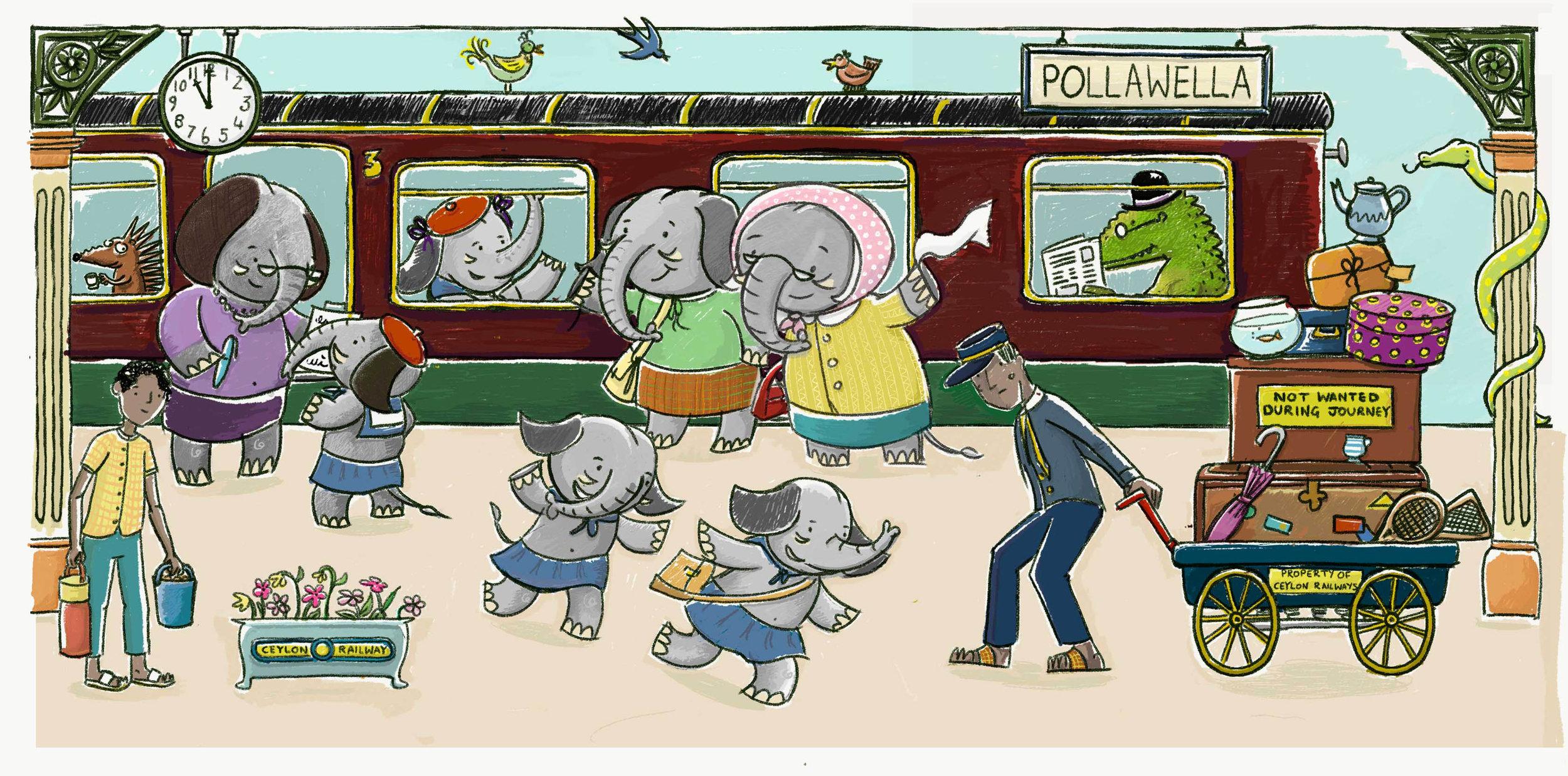 Railway scene inspired by my sketchs of Sri Lanka