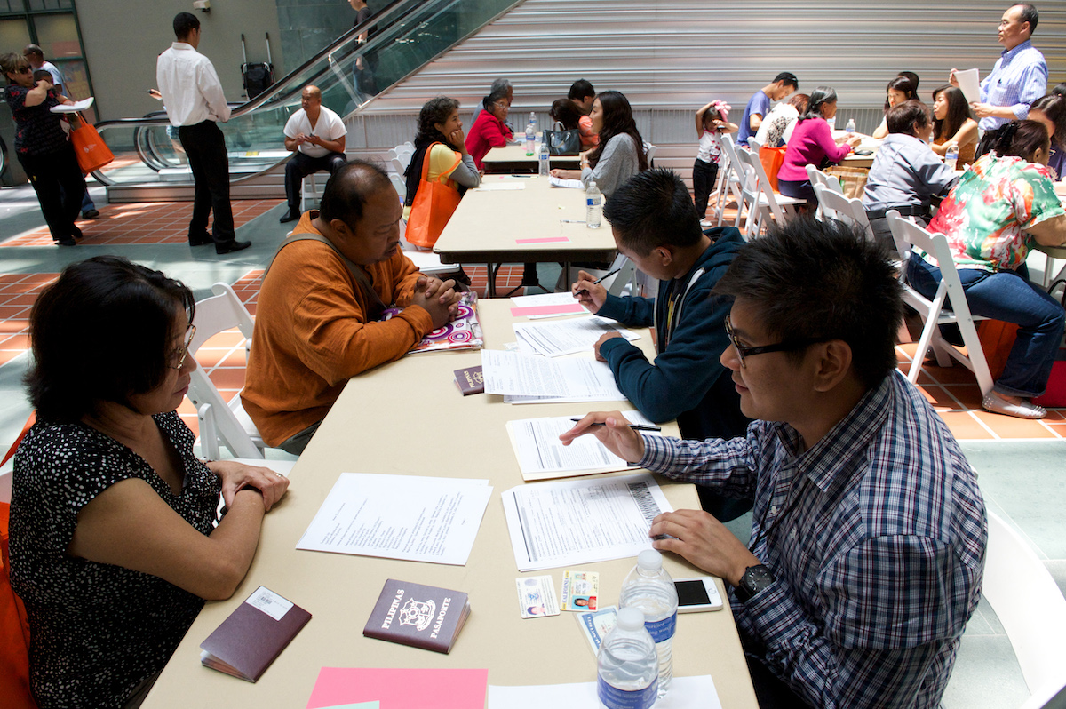 Citizen applicants in San Francisco receive free assistance at a local citizenship workshop in June of 2015
