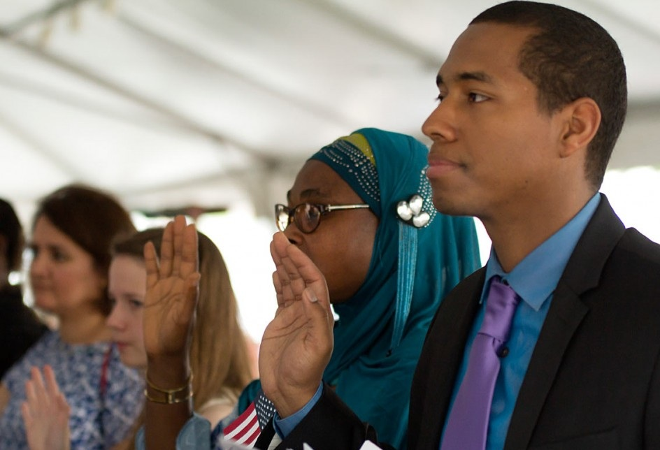 The City of Philadelphia hosted an oath ceremony at a Philadelphia Phillies baseball game