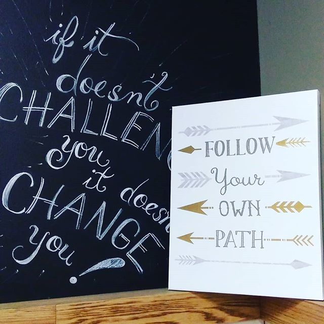 "If it doesn't challenge you, it doesn't change you. Don't run from the challenges. Embrace them knowing that you have the potential to CHANGE for the BETTER❇️❇️❇️ And regarding, ""Follow your own path,"" no, follow God's unique path for you and that is what will provide the greatest happiness and joy💙"