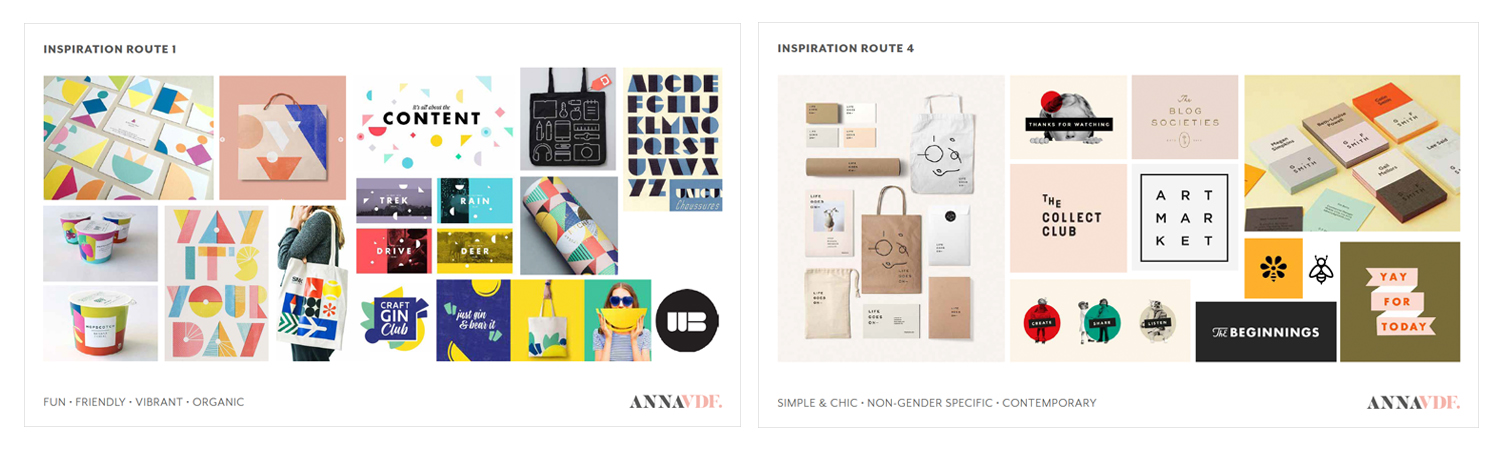 Examples of inspiration boards from a recent project