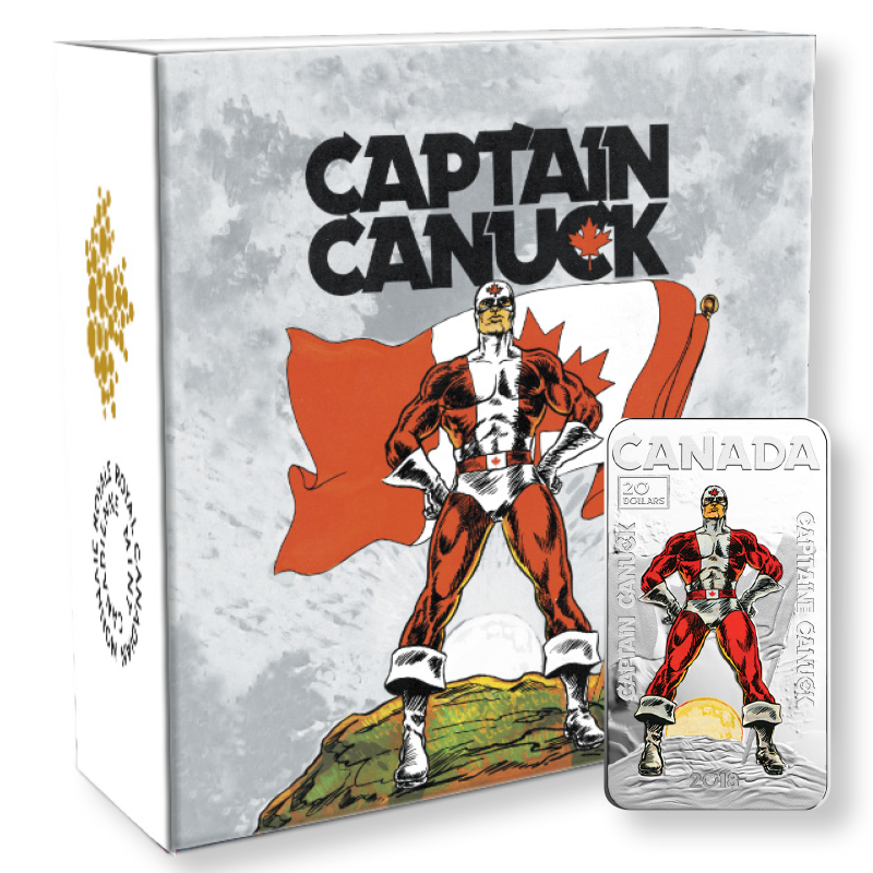 Captain Canuck Exclusive Coin, First Edition Collector's Set includes:   2018 Captain Canuck Royal Canadian Mint Fine Silver $20 Coin, Original 1975 #1 Edition of Captain Canuck, Original sketch by Richard Comely— all this in a Super Con Tote Bag!  ONLY 15 SETS AVAILABLE FOR SALE.