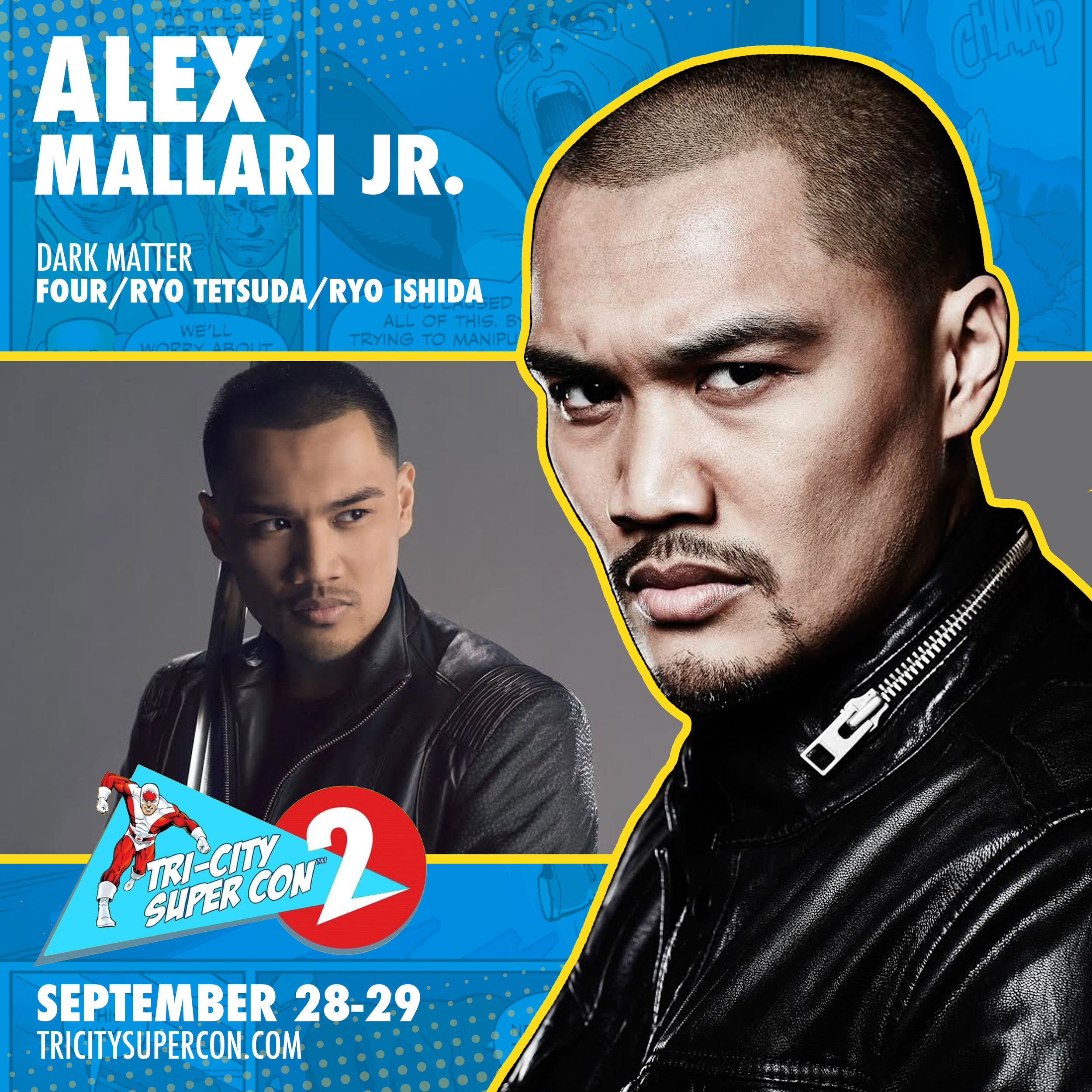 "Allex Mallari Jr.   was born in the Philippines and raised in Scarborough, Having had national success in both Tae Kwon Do and competitive basketball, it was evident that his determination would always carry him to great heights no matter what journey he decided to embark on. When his basketball career came to a halt in his last year of high school due to an injury, he attended the Criminology program at the University of Toronto with the goal to become an attorney. It was during his time in university he decided to take on his childhood dream: to become an ""action star."" With no knowledge of the entertainment industry and no guidance, Alex dove in head first. Since then he has worked on ""Robocop"", ""The Strain"", ""Nikita"", ""Beauty & The Beast"", and many other prime-time television shows. Now, he has the task of bringing the character ""Four"", a strong and stoic warrior, on SyFy's upcoming hit series ""Dark Matter"" to life."