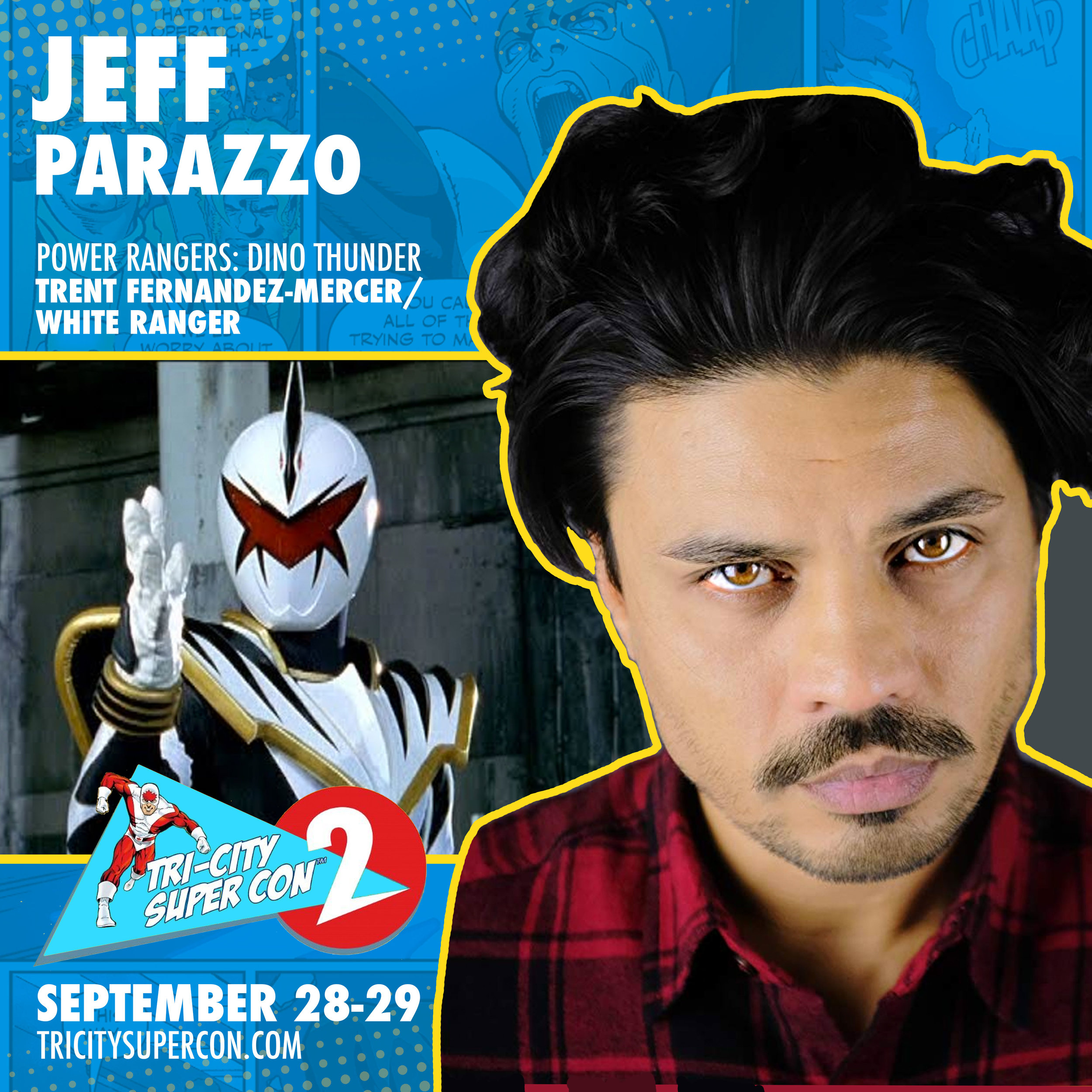 "Jeff Parazzo   is a Canadian actor with 20 years of professional film & television experience in both Canadian and American markets. Jeff is best known to his fans for his work as Trent Fernandes Mercer, The White Dino Thunder Ranger from the internationally acclaimed hit kids television franchise Power Rangers. Jeff has appeared in Dino Thunder, SPD and recently in the 25th anniversary special on Super Ninja Steel. He has also worked on such shows as ""12 Monkeys ""Flashpoint"", ""Nikita"", ""Degrassi"" and ""Suits"". Jeff also has had multiple films debut at the prestigious Toronto International Film Festival with the most recent film being 2017's Molly's Game directed by Aaron Sorkin."