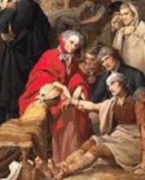 Martha Washington comforting a wounded veteran