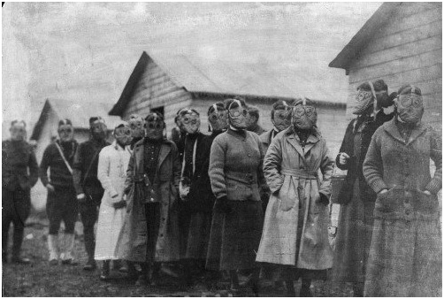 Nurses lined up - fitted for gas masks