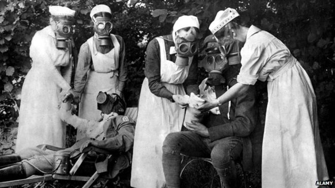 Nurses and patients - all with Gas Masks