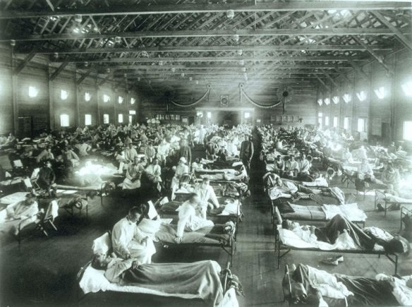 Soldiers suffering from influenza at the hospital in Camp Funston, Kansas in 1918