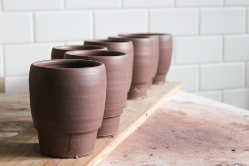 Freshly thrown tumblers - waiting for the clay to firm up before trimming