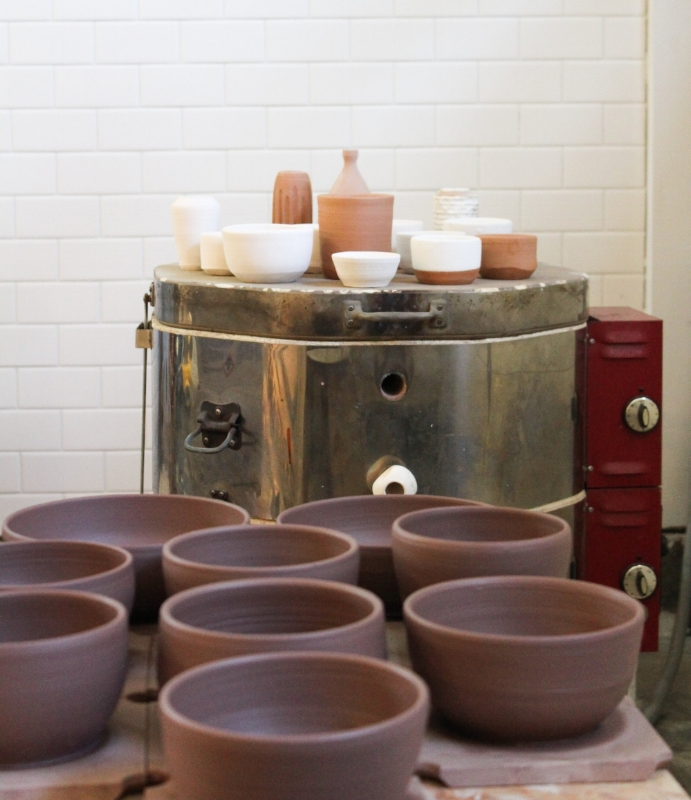 Pots drying in the warm studio, almost ready for the kiln!