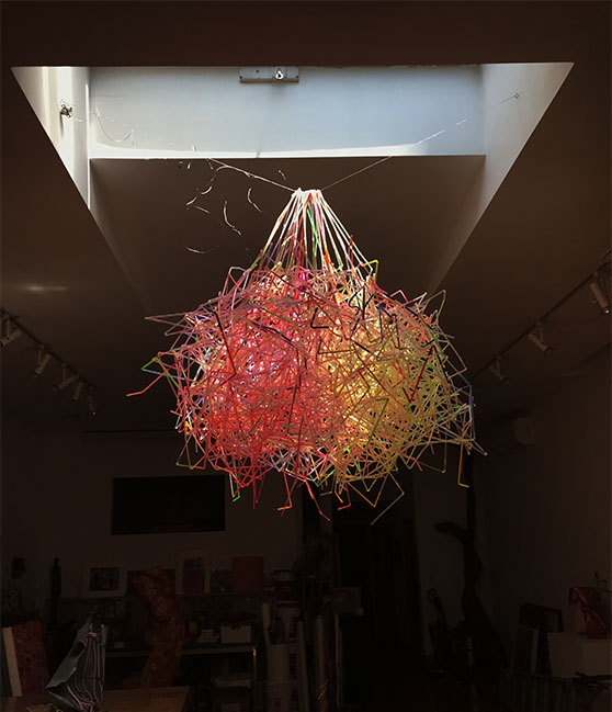 Chandelier, Color straws, wires. 2017