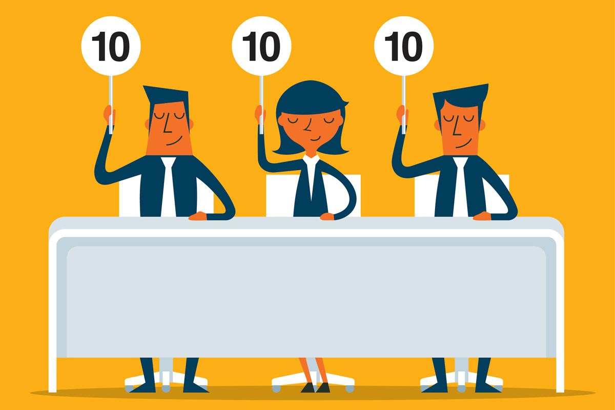 Illustration of people scoring a speech
