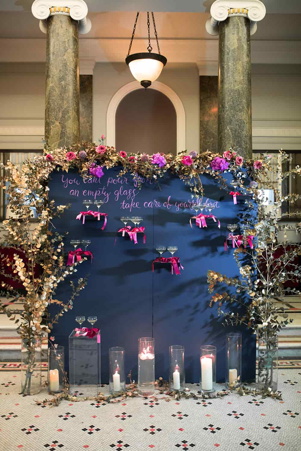This flower/champagne wall was used in the 116 Pall Mall reception and provided an eye-catching focal point