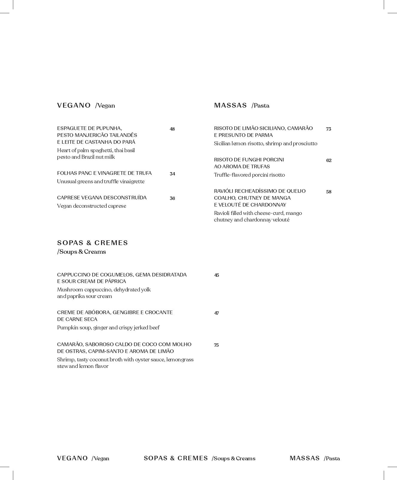Cardápio Vegano, Massas,  Sopas e Cremes do restaurante Hub Food Art & Lounge.