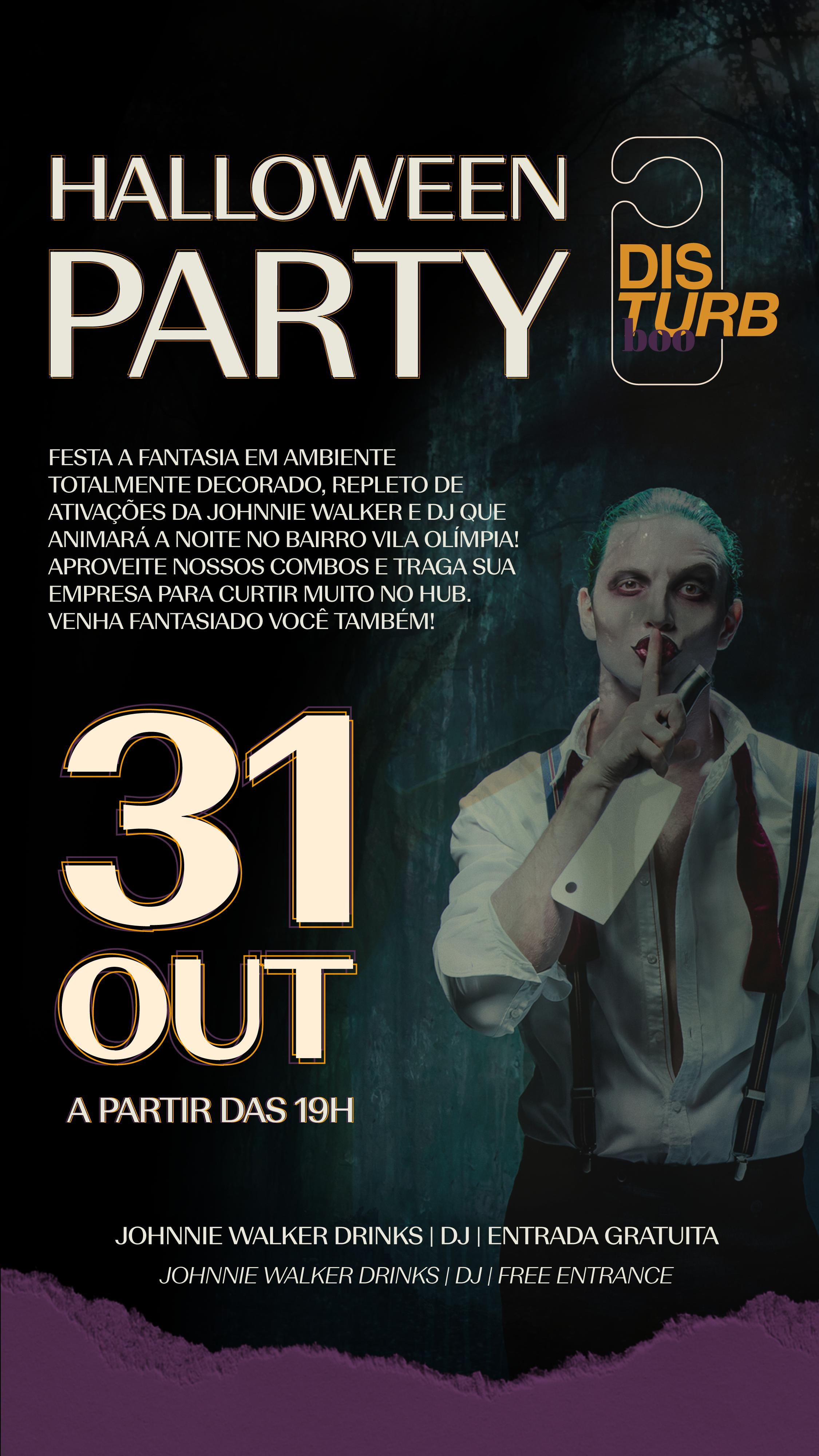 Disturb Boo - Halloween Party na Vila Olímpia em São Paulo