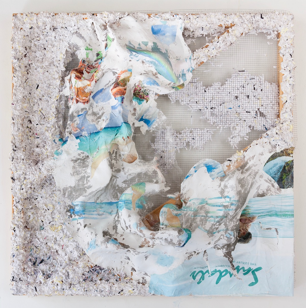 """Camille Hoffman beautifully applies paint and mixed media to create collaged worlds that are fantastically mesmerizing, while also grounded and painterly. Her works inhabit a liminal space walking the line between realistic and other-worldly; timely and eternal."""