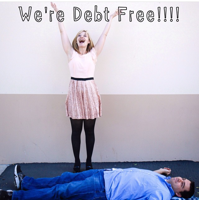 This was the picture I insisted on taking once we became debt-free back in 2014. Blame it on Instagram, but I felt I needed a picture to hallmark this huge milestone! Well, my idea was to throw confetti and jump up and down, but my husband had his own interpretation ;) So I'm celebrating and cheering and he's passed out on the ground - a perfect image of how we celebrated our debt free journey :)