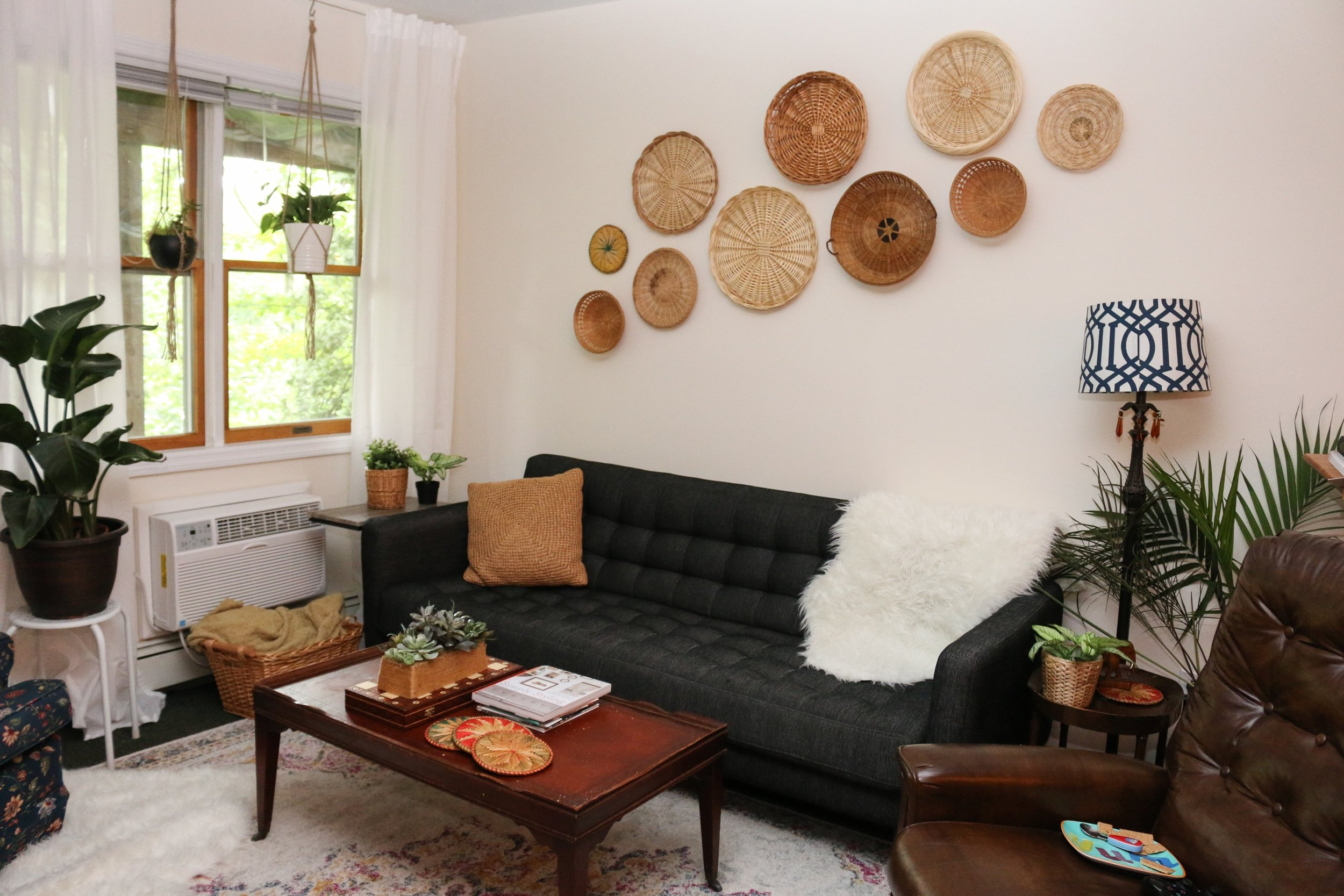 I love collecting wooden, wicker, and rattan items, along with fake plants (can't keep anything alive these days), and a mixture of patterns to create my boho style!