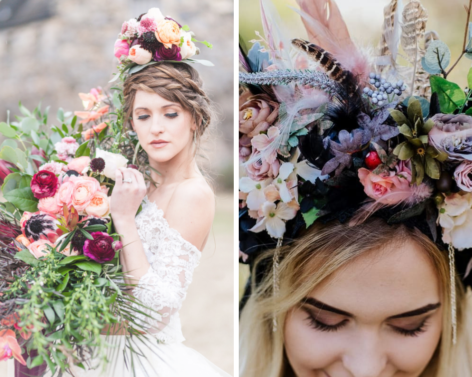 (Left) Photography by  Kim Christopher Photography  | Head Piece by  Cabbage Rose Florist . (Right) Photography by Sandra Lielmeza | Crown by  LAcrown