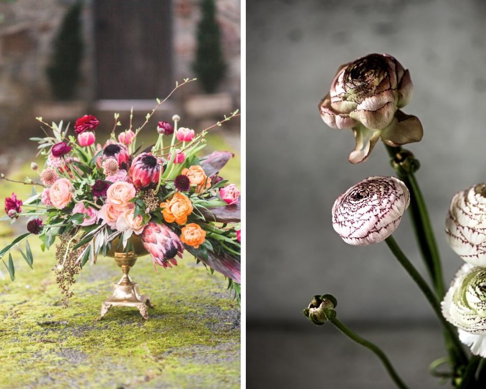 (Left) Photography by  Kim Christopher Photography  | Floral Design by  Cabbage Rose Florist
