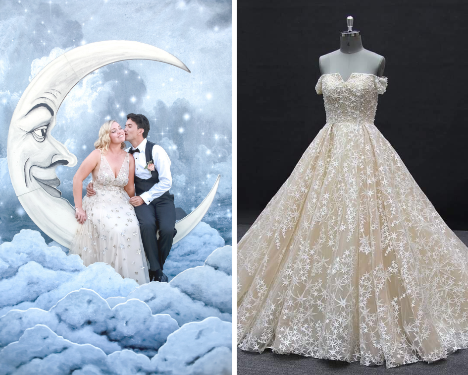 (Left) Photo provided by  Paper moon Shoppe . (Right) Photo provided by  Couture by Tess Bridal.