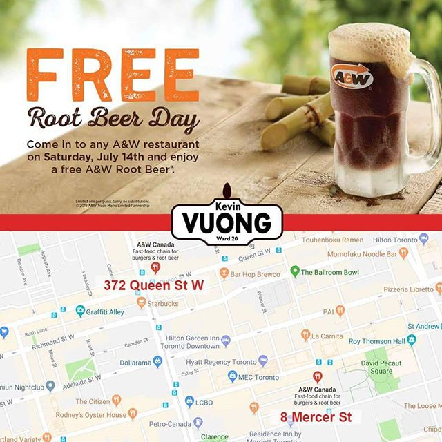 Today is Free Root Beer Day! 😄🍺 For everyone in #Ward20, there are two @AWCanada's that are in or near the Ward: - 372 Queen St W (Queen & Spadina) - 8 Mercer St (King & John)  While you're there, try the Beyond Meat burger, it's 👌! 😋🍔