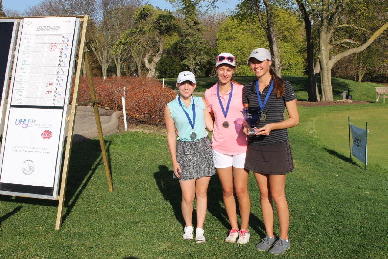 Mariella Simoncini was the girls champion with scores of 77-79-156. Shae Zydeck (left) and Katelyn Tokarz (middle) finished 2nd and 3rd, respectively.