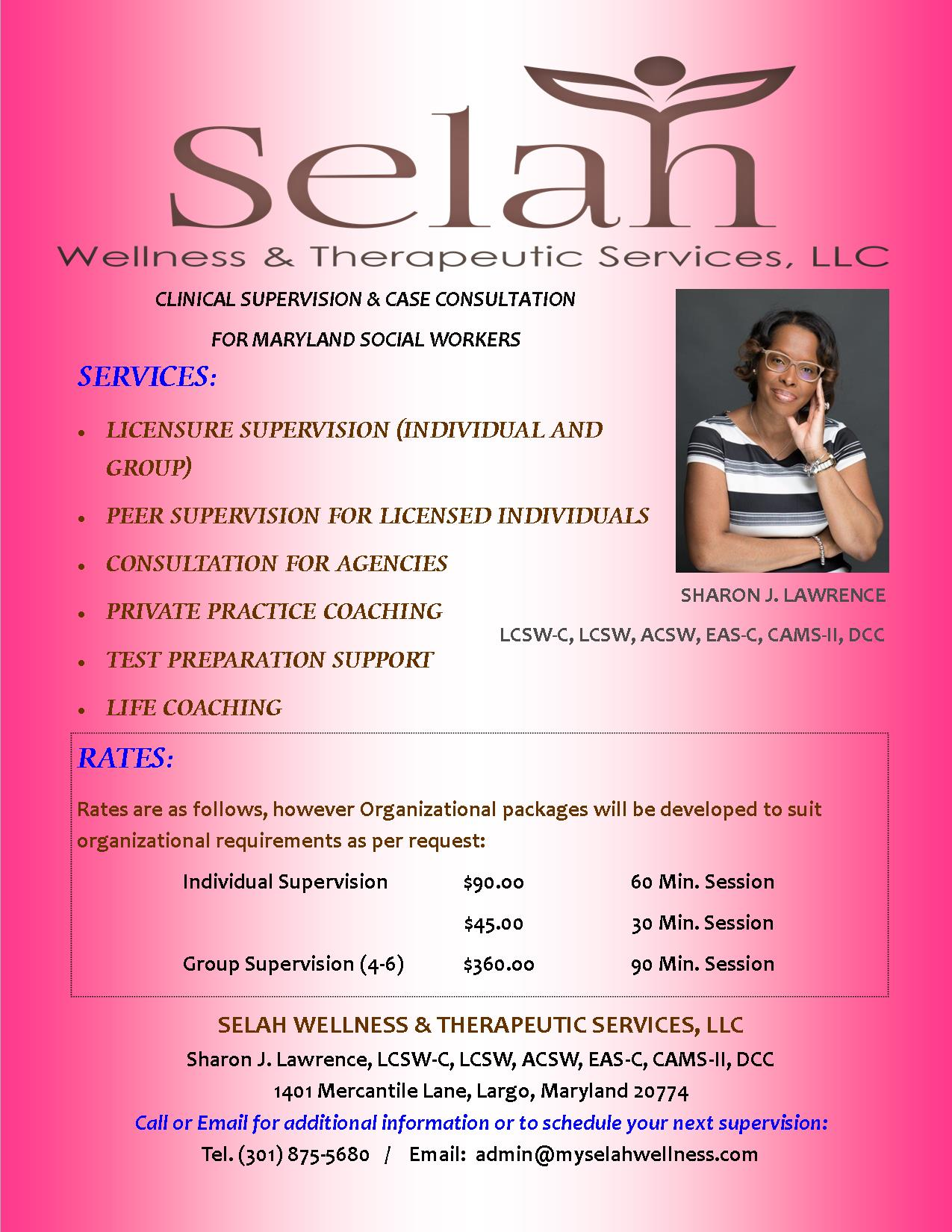 Clinical Supervision & Case Consultation for Maryland Social Workers - Make Contact Today to sign up for your individual or group supervision!Email: Admin@myselahwellness.com