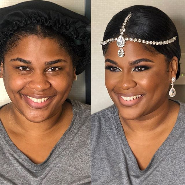 Had the opportunity to work with two GORGEOUS Brides this weekend!! 🤩💍😍💕 #beforeandafter #glamquibrides #dcweddings #dcmua