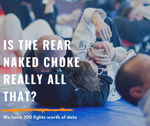 """In a gi, the rear naked choke was surprisingly medicore, making up only 6.71% of all submissions. What's more, blue and purple belts scored only one RNC in a gi each in their respective 100 matches. The RNC was eclipsed by other high percentage submissions such as the bow and arrow, the triangle, and the armbar. These three submissions made up a majority of finishes at 63%  But in Nogi, it's Another Story. . ."" #bjjstats #rnc #rearnakedchoke #mataleão #lionkiller #gi #submissions #bjjdata #bjjhacks #jiujitsugirls #bjjtechnique #oldschool #nogi"