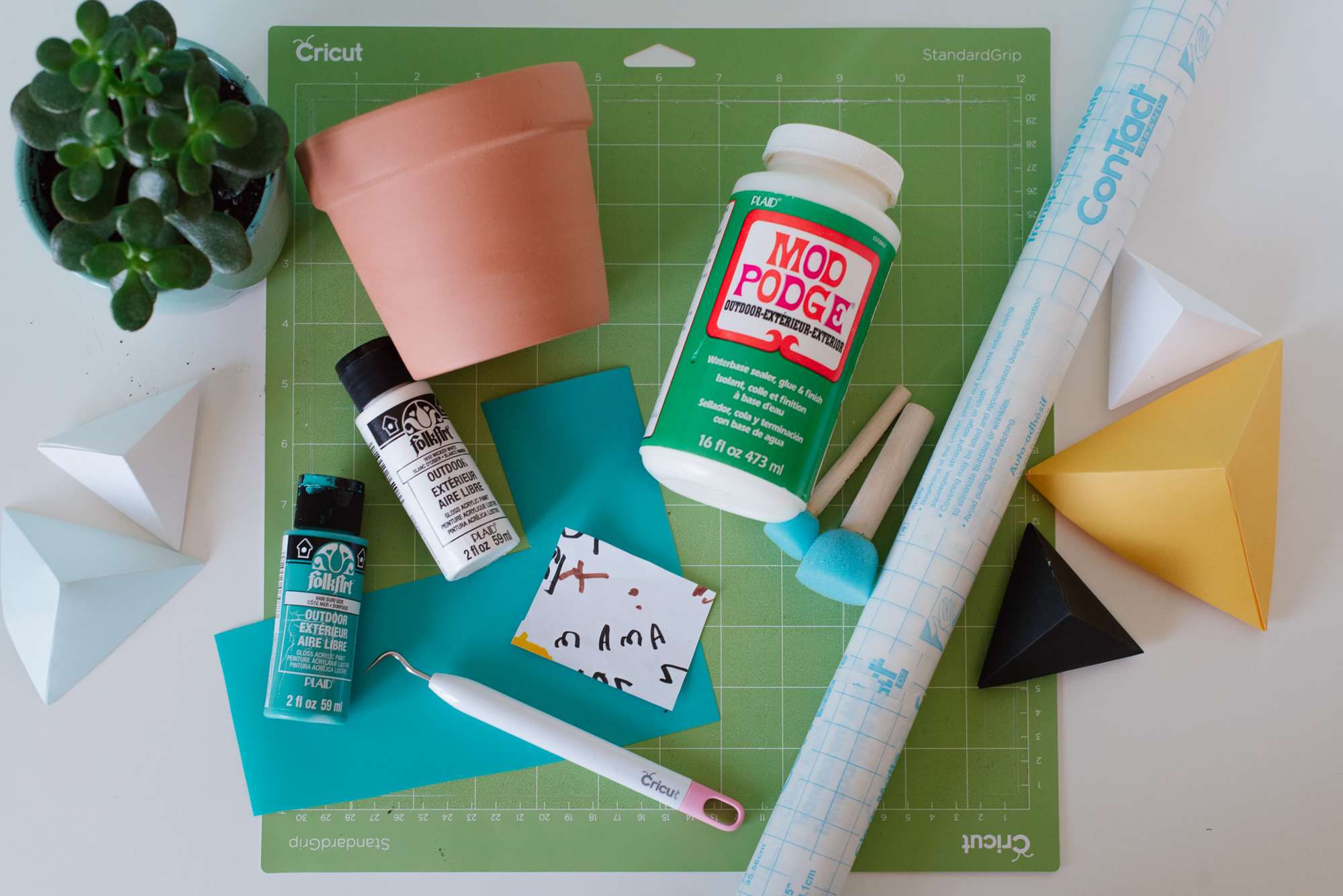 A flat lay of supplies needed to make a DIY vinyl flower pot using the Cricut Air 2. Some of the supplies shown are a clay pot, paint, and a jade plant.