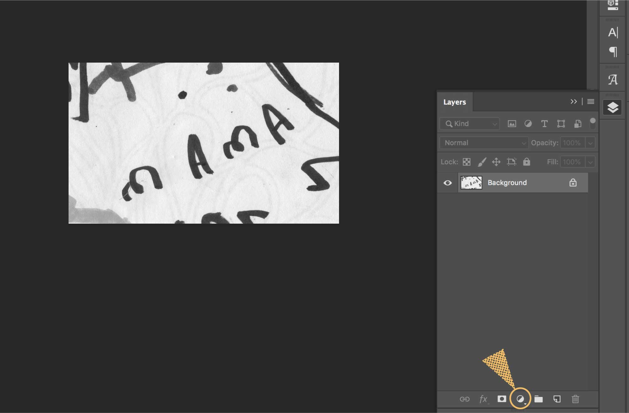 A screenshot of Photoshop and where to find the adjustment layer icon