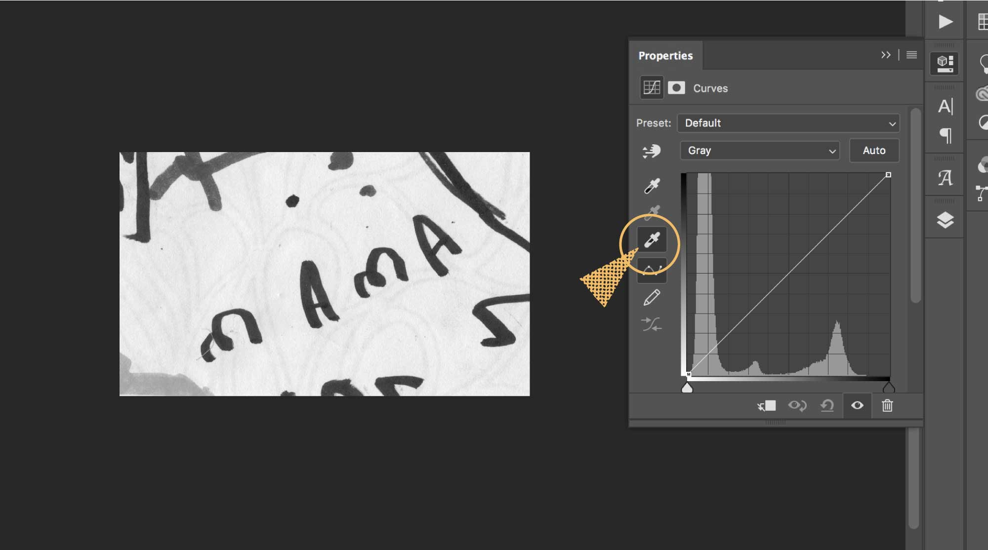A screenshot of Photoshop and where to find the white eyedropper tool in the curves window