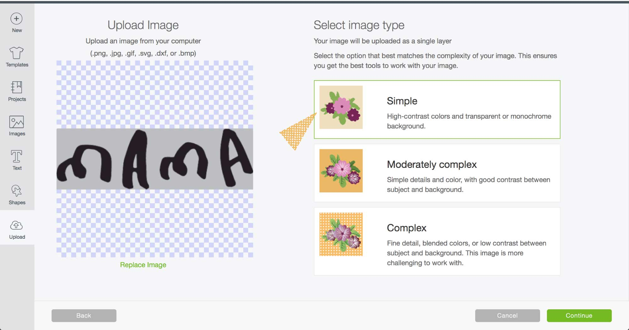 Screenshot of Cricut's Design Space using the SIMPLE image type