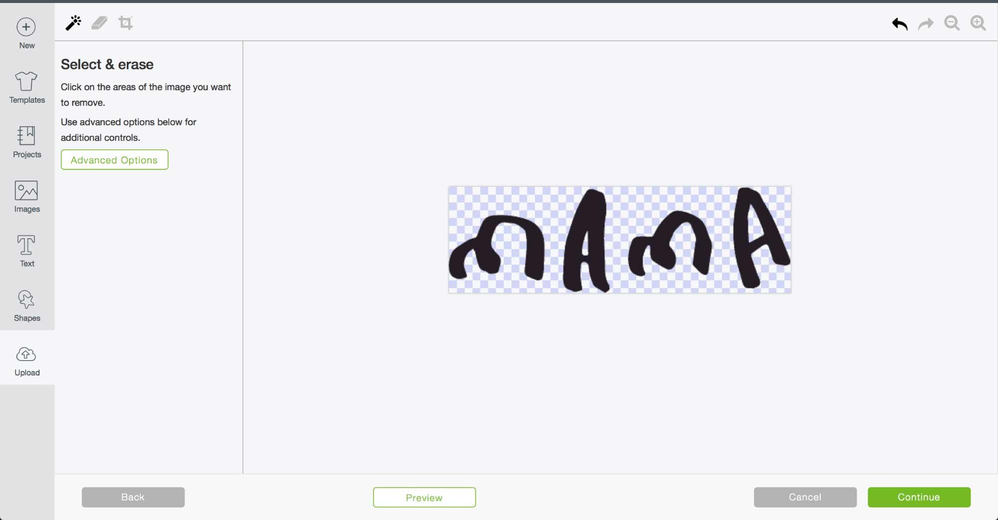 Screenshot of Cricut's Design Space select + erase