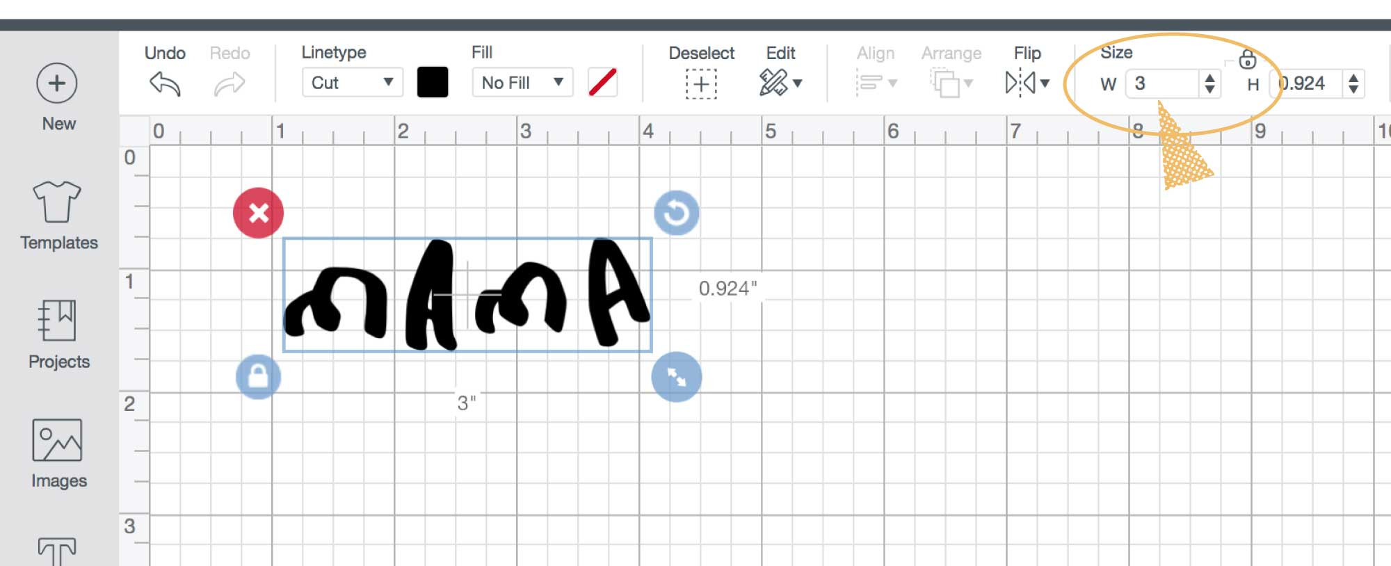 Screenshot of Cricut's Design Space grid layout, with an arrow pointing to the width and heigh