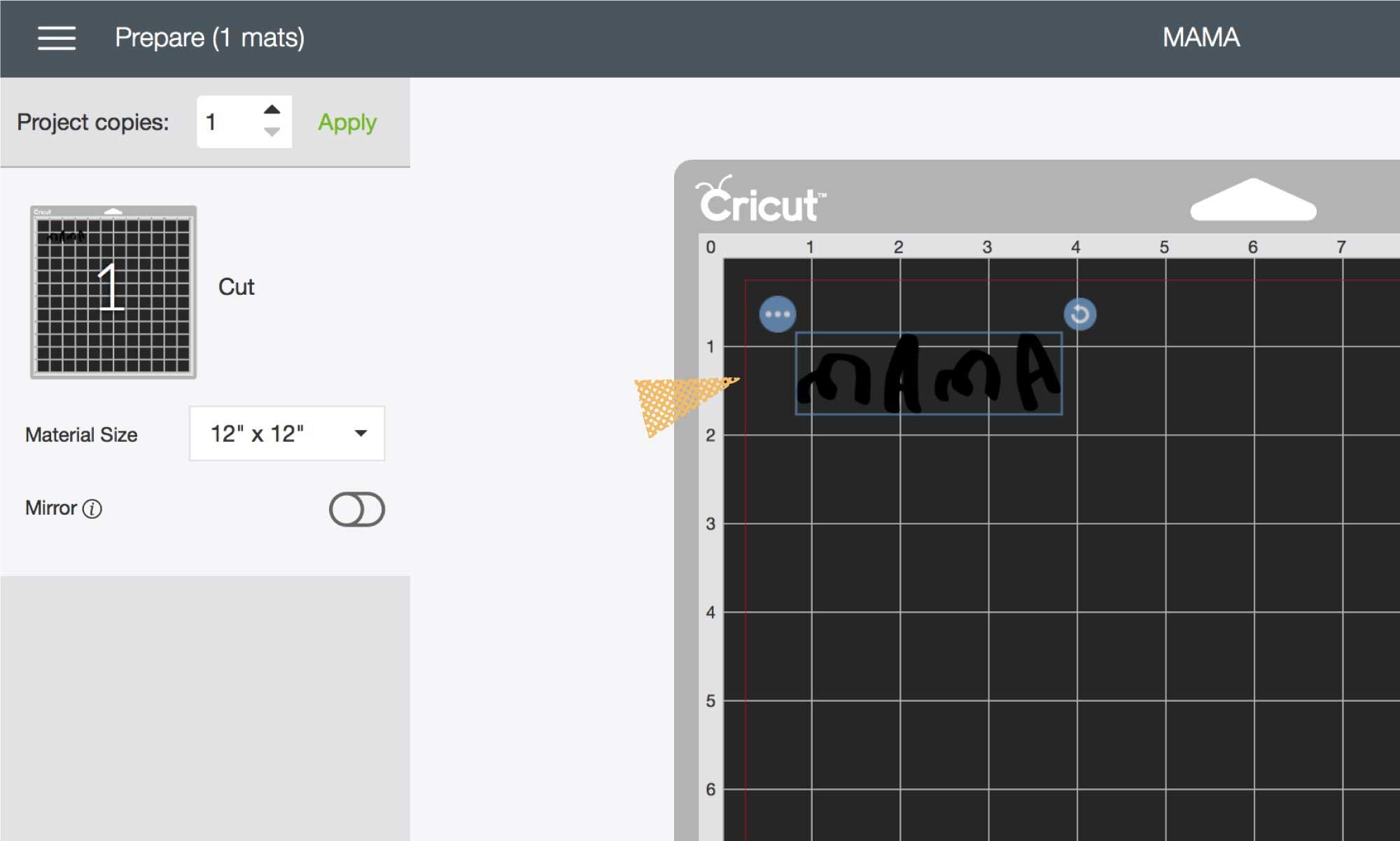 Screenshot of Cricut's Design Space prepare mat's screen