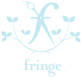 Fringe BK. Modern logo for hair salon with scissors and vines. Feminine blue logo.  Female owned hair salon New York specializing in balayage and ready-to-wear cuts.